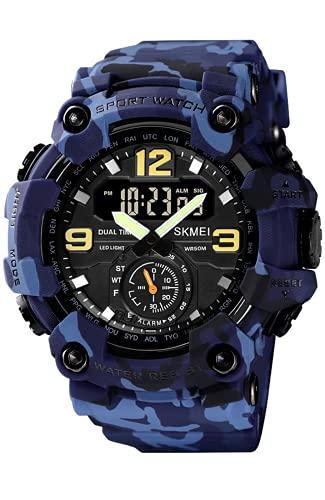 Herren Uhren Militär - 50M Wasserdicht Sport Outdoor Digitaluhr, Großes Tactical Armbanduhr Herren, Armbanduhr für Männer mit Stoßfest/Wecker/Stoppuhr/LED-Licht