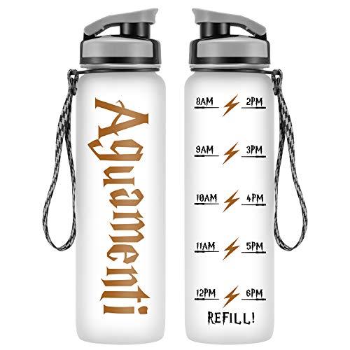 LEADO 32oz 1Liter Motivational Water Bottle w/Time Marker, Aguamenti HP Merchandise - Funny Valentines Day, Potterhead Birthday Gifts for Women, Men, Friend, Mom, Dad, Wife, Husband - Drink More Water