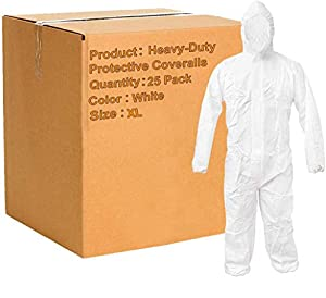 Pack of 25 White 55G Microporous Coveralls with Elastic Bands in Hood, Cuffs, Ankles, Waist. Heavy-Duty Protective Coveralls. Unisex Disposable Workwear for cleaning, painting, manufacturing. XL size.