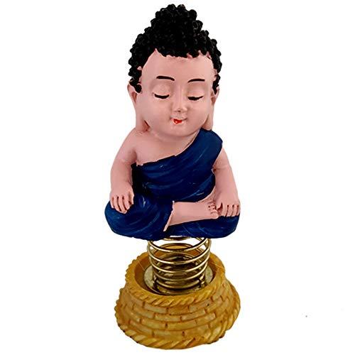 Divya Mantra Bobblehead Figure for Office, Car Dashboard Bobble Head Spring Shaking Lama Buddha Kids Toy Doll Showpiece, Collection Figurines, Home Decor / Yoga Meditation Room Decoration -Blue
