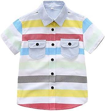 Camisetas Niños SUNNSEAN Camisa de Solapa a Rayas de Manga ...