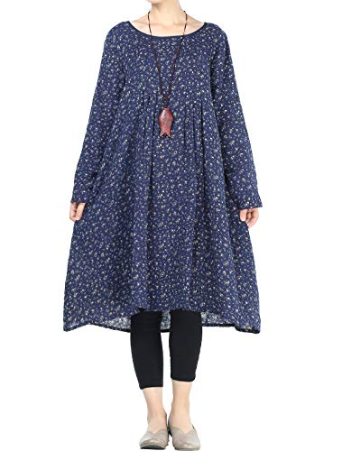 Mordenmiss Women's Flowers Floral Pleated Fall Casual Dress with Pockets (2XL, Long Sleeve-Navy)