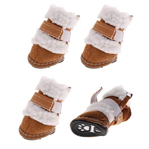 4pcs Hundeschuhe Schneeschuhe Winter Schuhe Stiefel für Kleine Hunde - Khaki, S