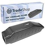 Trade-Shop Premium Li-Ion Akku 36V / 14500mAh / 522Wh Akku ersetzt Yamaha 36V Down Tube Type, Modell B0S-20 Winora Y420.X, Y520.X, Y610.X, Y280.X für Haibike Winora