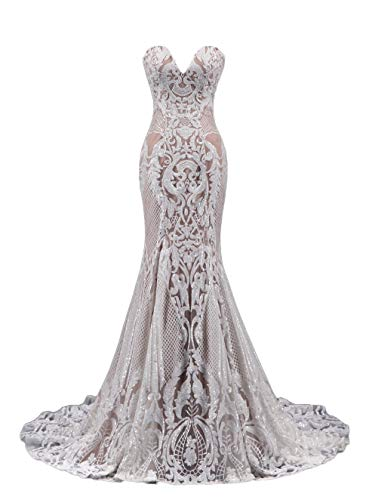 Ruolai Strapless Sweetheart Neck Special Sequined Mermaid Evening Dress Wedding Gowns White-Nude 10 (Apparel)