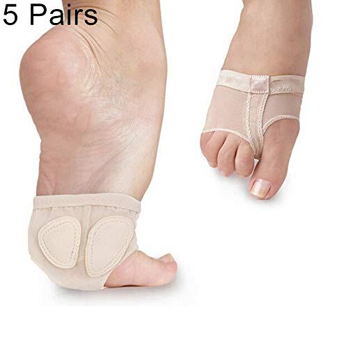 Sport équipement de conditionnement physique Ctj 5 paires Ballet du ventre professionnel de danse Toe Pad pratique Chaussures Tapis avant-pied Chaussettes anti-dérapant respirant Toe chaussettes manch