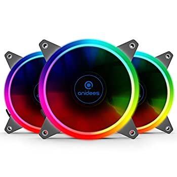 anidees AI Aureola V2 120mm 3pcs Adressable RGB PWM Fan Compatible with ASUS Aura SYNC/MSI Mystic/GIGABYTE Fusion MB with 5V 3pins Header for case Fan Cooler Fan with Remote AI-Aureola-V2