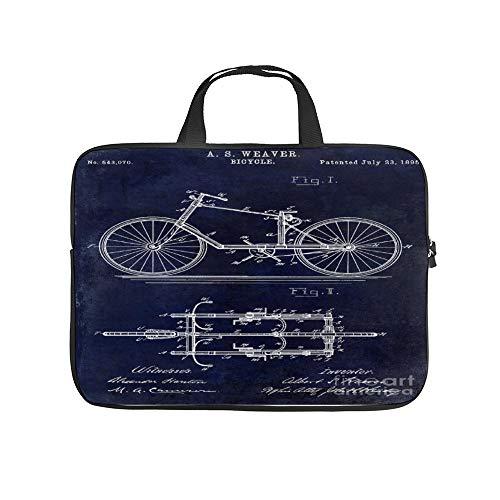 1895 Fiets Patent Tekening Blauw 10 Inch Laptop Sleeve Case Beschermende Cover Draagtas Voor 9.7
