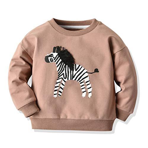 LUCSUN Kleinkind Kinder Baby Mädchen Zebra Muster Muster Langarm Pullover Lose Baby Junge Unterhemd Herbst Winter T-Shirt Gr. 1 Jahre , Nude