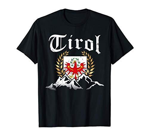 Tirol mit Bergen & Tiroler Adler Wappen Heimat Herren Damen T-Shirt