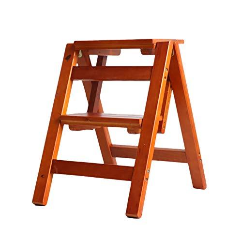 ZfgG 2 Étapes Échelle Pliante Tabouret Multi-Fonctions à Double Usage Escabeau Chaise d'escalier de ménage Chaise en Bois Massif (Color : Brown)