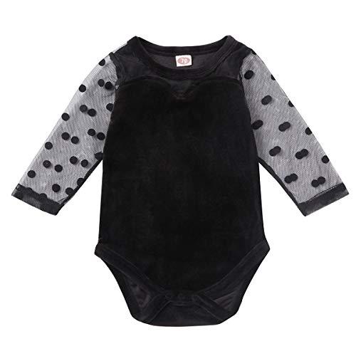 Carolilly - Mono de bebé para niña, de terciopelo, con estampado de...