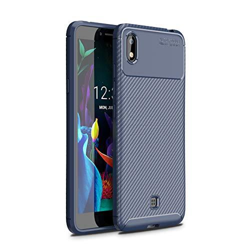 Cruzerlite LG K20 hülle, Carbon Fiber Texture Design Back Cover Anti-Scratch Shock Absorption Case Schutzhülle für LG K20 (Carbon Blue)
