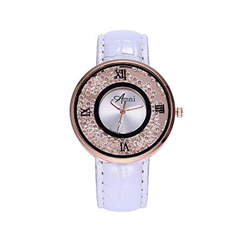 CXJC Reloj de Cuarzo de marcación de aleación Redonda de 40 mm. Reloj de Personalidad de Moda Decorada con pedrería. 7 Colores Disponibles (Color : Si)