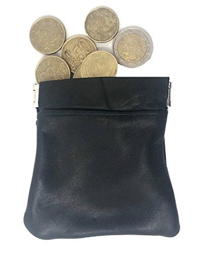 PORTAMONETE Uomo Donna ECO PELLE PICCOLO a Scatto Tascabile - Portafoglio Porta Monete NERO da Tasca Borsa Auto Viaggio