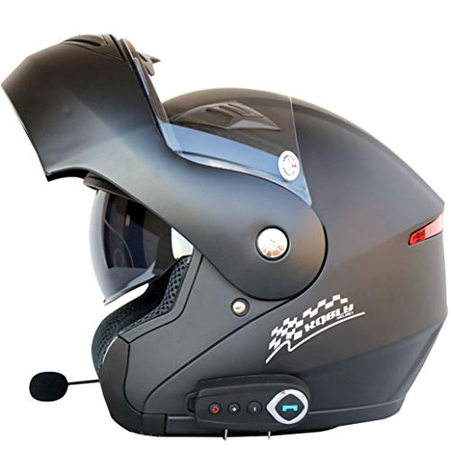 Flip Up Casco De Moto Hombres Mujeres Visera Doble con Interior Sunny Shield Moto Cascos De Auriculares Bluetooth con Radio FM Motocross Racing Gorras De Protección De Seguridad