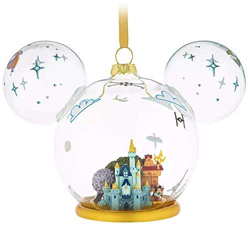 DisneyParks Walt World 4 Parks Large Glass Globe Mickey Mouse Ear Ornament