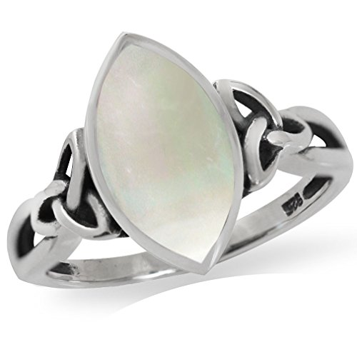 Silvershake White Mother of Pearl 925 Sterling Silver Triquetra Celtic Knot Solitaire Ring Size 7