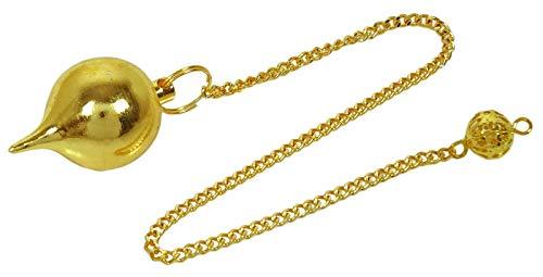 Sharvgun Small Brass Gold Tone Tear Drop Wünschelrute Reiki Spirituelle Energie mit Wildledertasche (golden)
