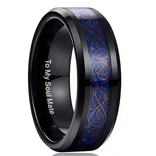 PLKN Anillos de acero de tungsteno para hombre, anillo de tungsteno negro mate acabado biselado borde pulido comodidad, anillos de boda para hombres y mujeres -F_9 #