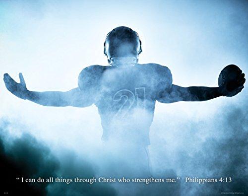 Apple Creek Religious Inspirtational Motivational Poster Art Print 11x14 Football Philippians 4:13 Wall Decor Pictures