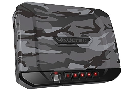 Vaultek VT10i Lightweight Biometric Handgun Safe Bluetooth Smart Pistol Safe with Auto-Open Lid and Rechargeable Battery (Urban Camo)