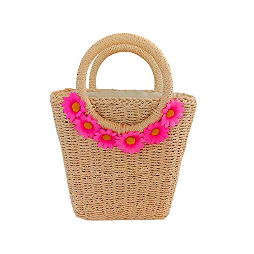 Size:10.2''x 7.8''; Color: Beige, Khaki 100% Real and Natural Handmade Rattan Bags. Every midsummer, cool and leisure handbags are popular with girls. Bohemian style straw bags are not only the best choice for seaside holidays, but also a novel and u...