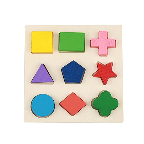 Zerodis Juego de Combinación de Bloques de Madera para Niños, Tablero de Madera Juego de Geometría de Rompecabezas Juguete de Construcción de Bloques de Construcción Educativa(#1)