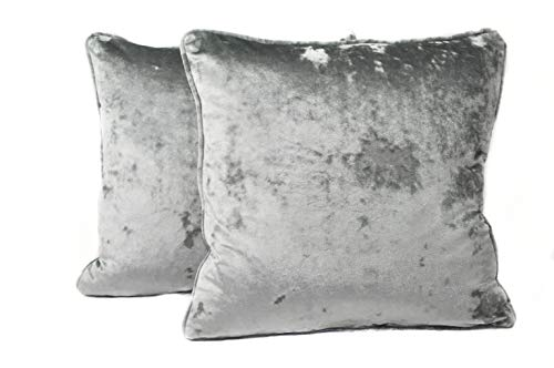 Harvey Williams 45cm x 45cm Crushed Velvet Cushion Cover x 2 (Dove Grey, 45cm x 45cm)