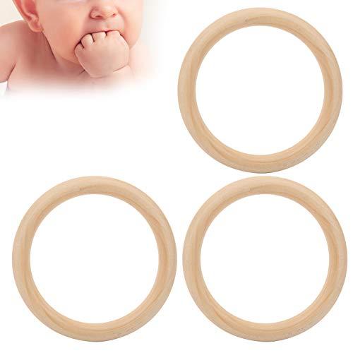 Anillo De Dentición De Madera Para Bebés, 3 Uds, Círculos De Madera Sin Terminar, Mordedor Para Bebés, Juguetes Para La Dentición Para Bebés Y Niños Recién Nacidos(110mm)