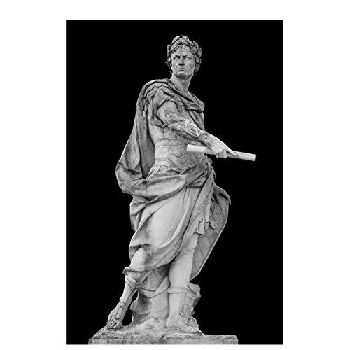 CAOHD Black and White Roman Emperor Julius Sculpture Caesar Statue Poster Canvas Painting Wall Art Pictures for Living Room Decoration-60x90cm No Frame