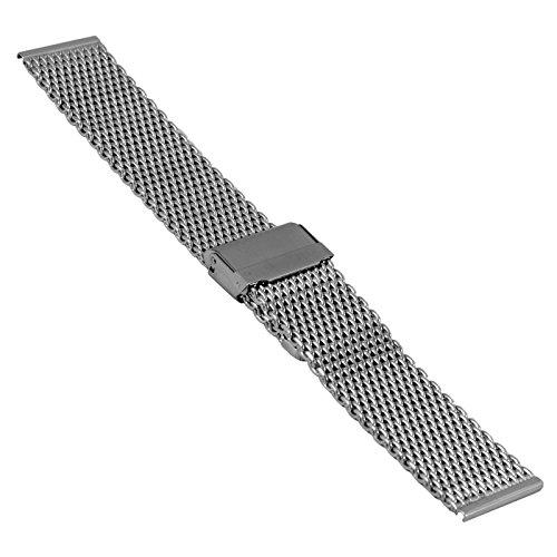 Cinturino per orologio da polso in acciaio inox, maglia milanese, 20811, 20 mm