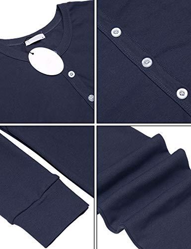 UNibelle Damen Hausanzug Onesie Thermowäsche mit Knopfleiste Nachtwäsche Schlafanzug Navy Blau - 6