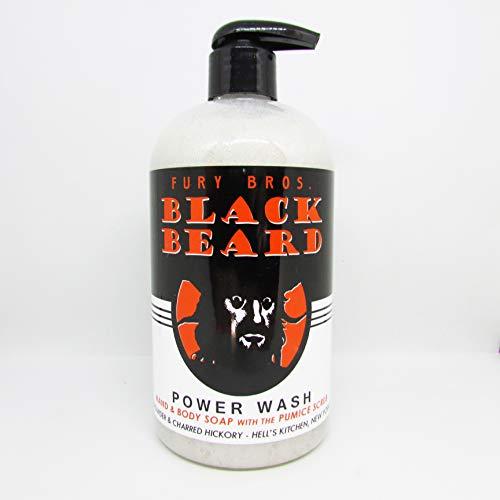 Black Beard Premium Hand & Body Power Wash From Fury Bros. | Gun Powder, Charred Hickory | All Natural, Vegan Friendly With Pumice Scrub | Made In The USA | 16 oz