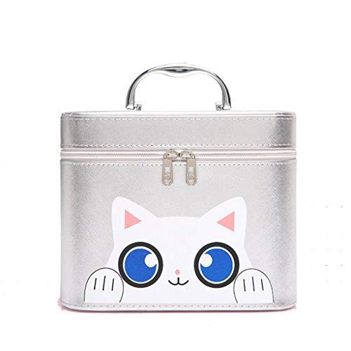 Boîte De Maquillage For Les Filles Avec Miroir PU Portable Cosmétiques Organisateur De Stockage Pouch Toiletry (Color : Silver, Size : A)