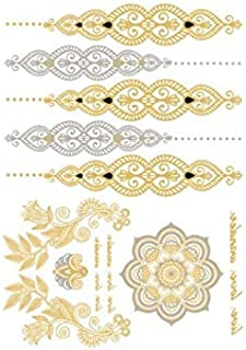 Temporary Boho Metallic Tattoos for Women Girls | Gold Silver Shimmer Designs Jewelry Tattoos | Color Fake Waterproof Tatt...
