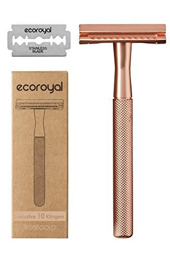 Ecoroyal Rasierhobel Damen Rosegold mit 10 Rasierklingen | Metall Rasierer Frauen | Eco Rasierer Frauen | plastikfreier Rasierer Damen | Safety Razor |