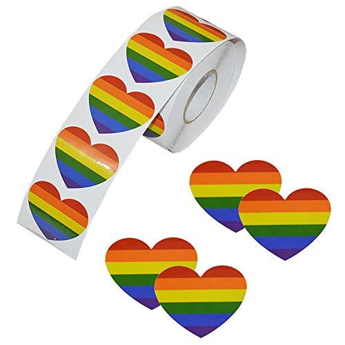 Regenbogenband-Aufkleber, 500 Stück, Love Gay Pride, 7 Farben, Streifen, herzförmig, Rolle Klebeband für Gay Pride Feiern (Herz)