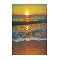 日没時の海の波油絵 木製パズル300ピース楽しいパズル減圧パズル300ピースバースデーギフトホリデーギフト