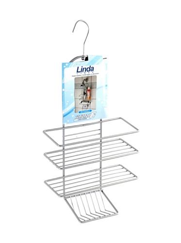 FERIDRAS Linda Étagère avec Crochet Douche, 3 étages, Acier, Chrome, 11 x 25 x 43 cm