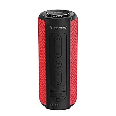 Bluetooth Speaker 5.0, Tronsmart T6 Plus 40W Portable Outdoor Wireless Speaker With Tri-Bass Effects, 6600mAh Powerbank, IPX6 Waterproof, 15 Hrs Playtime, TWS, Voice Assistant and handsfree call -Red by Tronsmart
