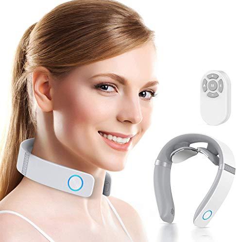 HOMIEE Nackenmassagegerät, Massagegerät mit 16 Heißkompressionsfunktion Elektrisches Puls-Nackenmassagegerät mit Sprachübertragung und Bluetooth Funktion neck relax massagegerät mit 6 Modi