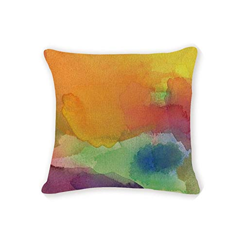 Pillow Cover Pretty | Gift Cushion Cover Patchwork Geometry Watercolor Love Pillowcases Sofa Seat Rectangle Burlap Home Office Furniture Cushion Cover