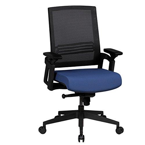 FineBuy Design Chaise Bureau Tissu Chaise exécutif rembourré Chaise tournante | Chaise de pivotant avec accoudoirs - 120kg capacité de Charge - Noir/Bleu - réglable en Hauteur - Dossier Ergonomique