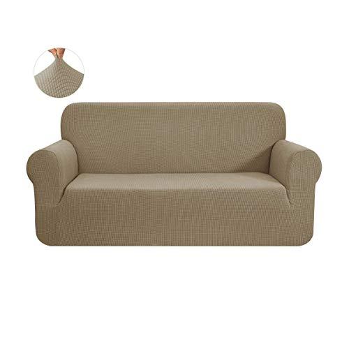 CHUN YI 1-Stück Sofa Überwürfe Sofabezug Jacquard Elastische Stretch Spandex Couchbezug Sofahusse Sofa Abdeckung (2 Sitzer, Sand)