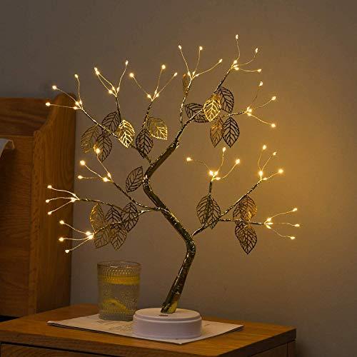 LED-Bonsai-Tisch-Baumlicht, 45cm, USB- & batteriebetrieben mit Berührungs-Schalter, Tischlampe für Zuhause, Feier, Weihnachtsdekoration