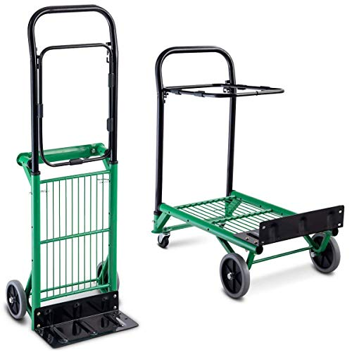 Goplus Folding Hand Truck, 2 in 1 Multi-Functional Dolly, Gardening Lawn Leaf Bag Support Platform Truck Cart, 200Lbs Load Capacity