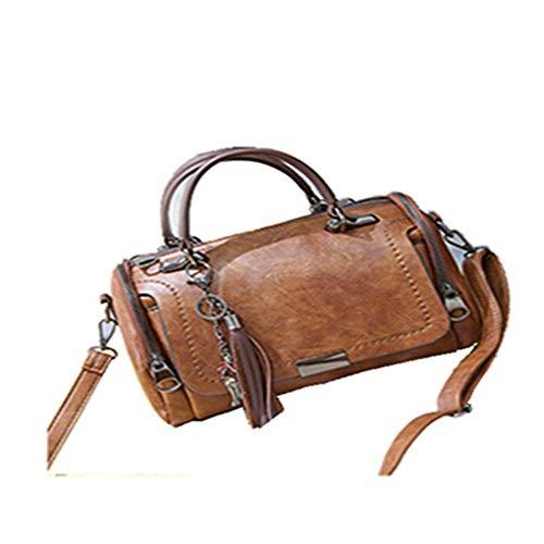 XYAZ Damen große Kapazität PU Umhängetasche Mode Pendler wilde Handtasche Quaste Umhängetasche,Kaffee