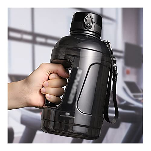 ZZL Waterbottle Sports Bottle 2300 Ml/76 Oz Large Water Bottle with Time Marker Fast Flow for Outdoor Hiking Camping Travel Hydro Jug (Color : Black)