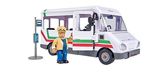 Simba  109251073 - Feuerwehrmann Sam Trevors Bus, mit Trevor Figur, mit Crashfunktion, Türen und Dach zum Öffnen, 21cm, für Kinder ab 3 Jahren